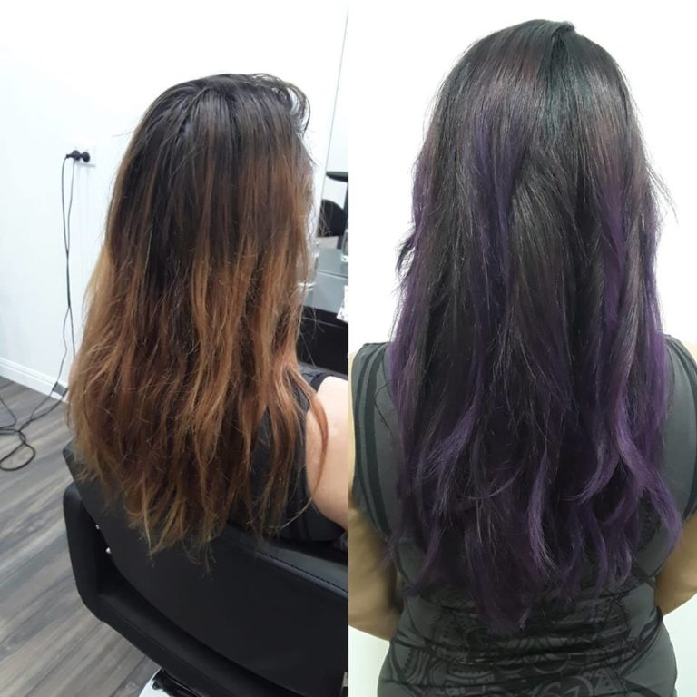 Purple balayage, Karmeleon eco hair. Hairdresser Palm Cove, Cairns